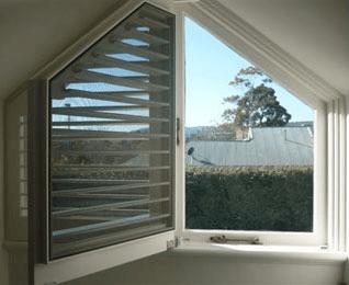 Custom shutter window installation for odd shape window