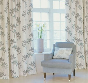 Luxury Printed Fabric Curtains in Bedroom
