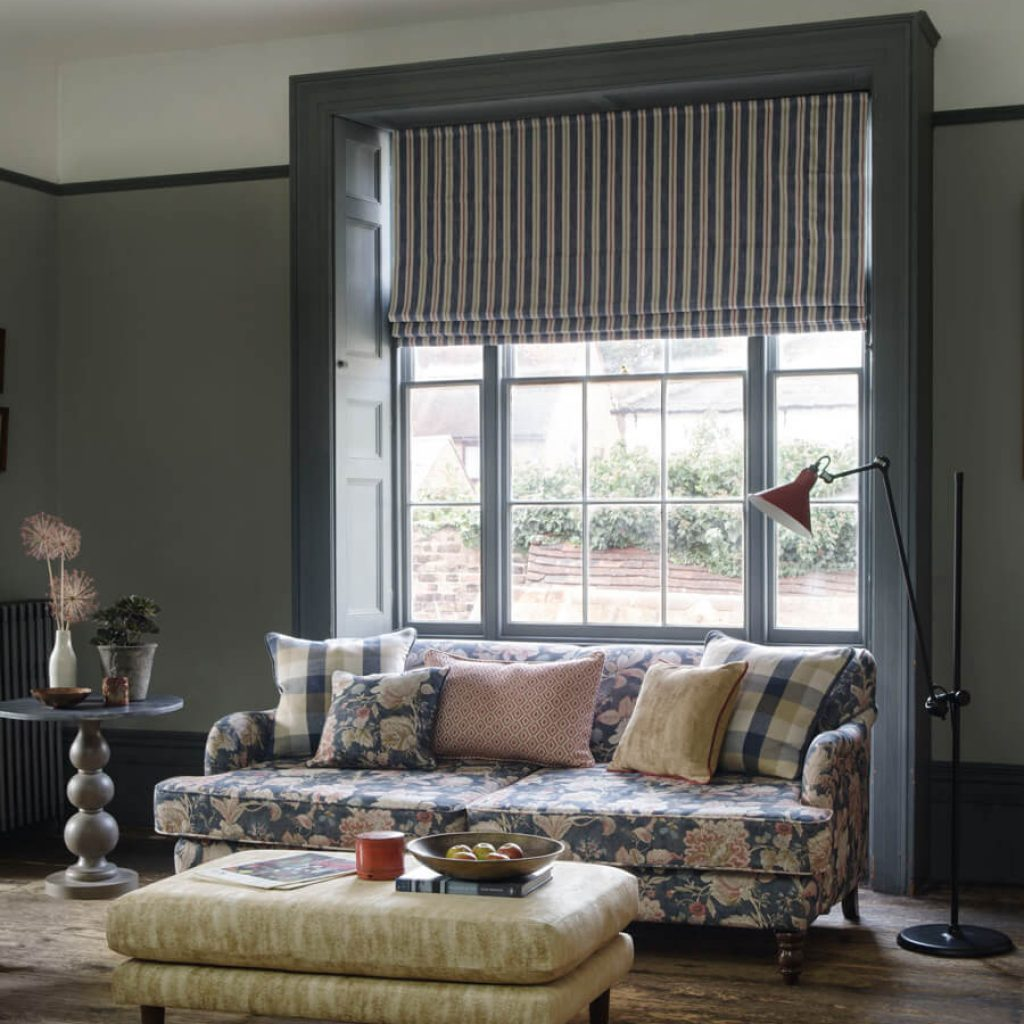 Dark striped Roman Blind inset into living room window