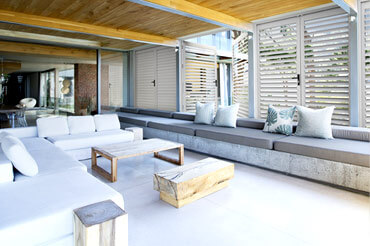 Stunning outdoor living area with lockable shutters