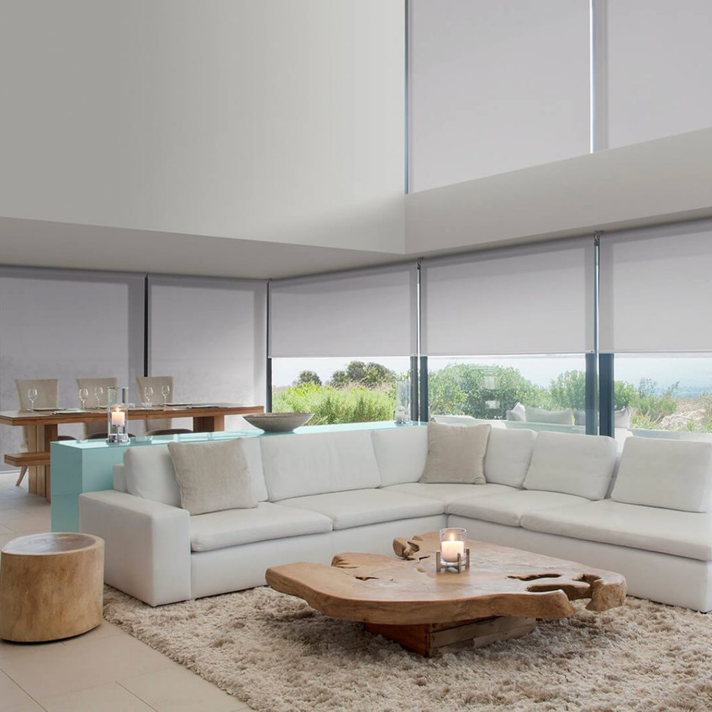 White Full length Roller blinds with see through fabric