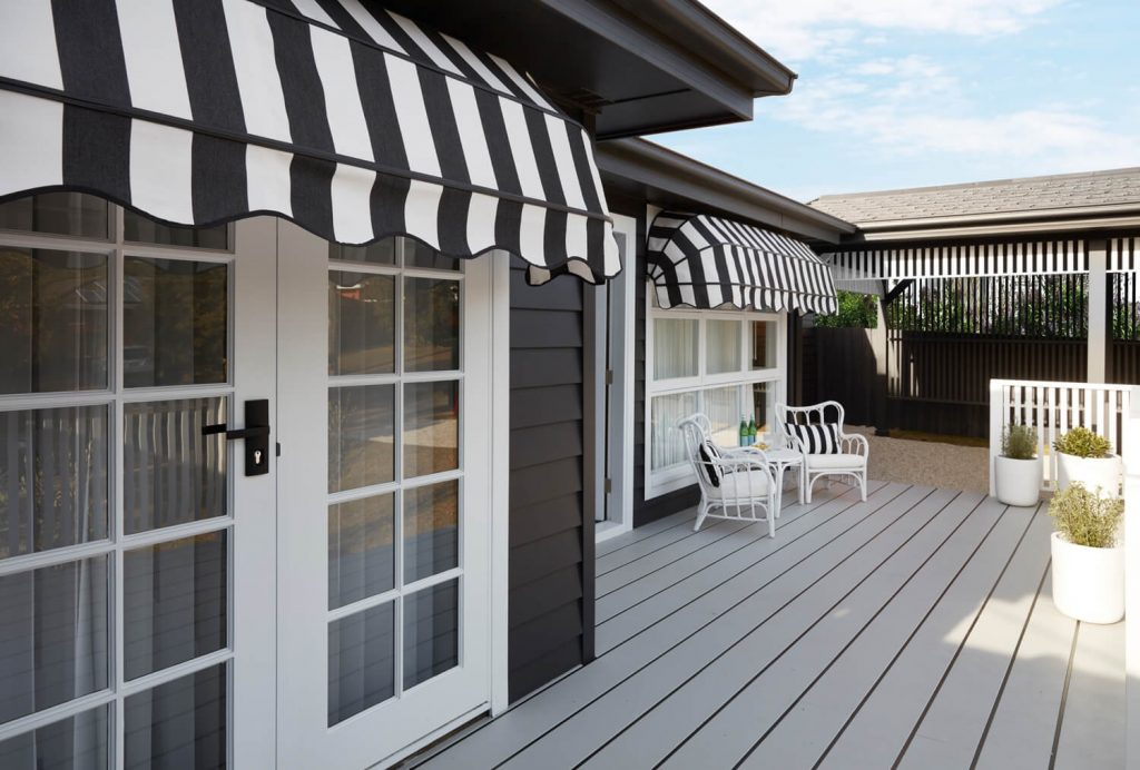 Stripped Black and White Canopy Awning