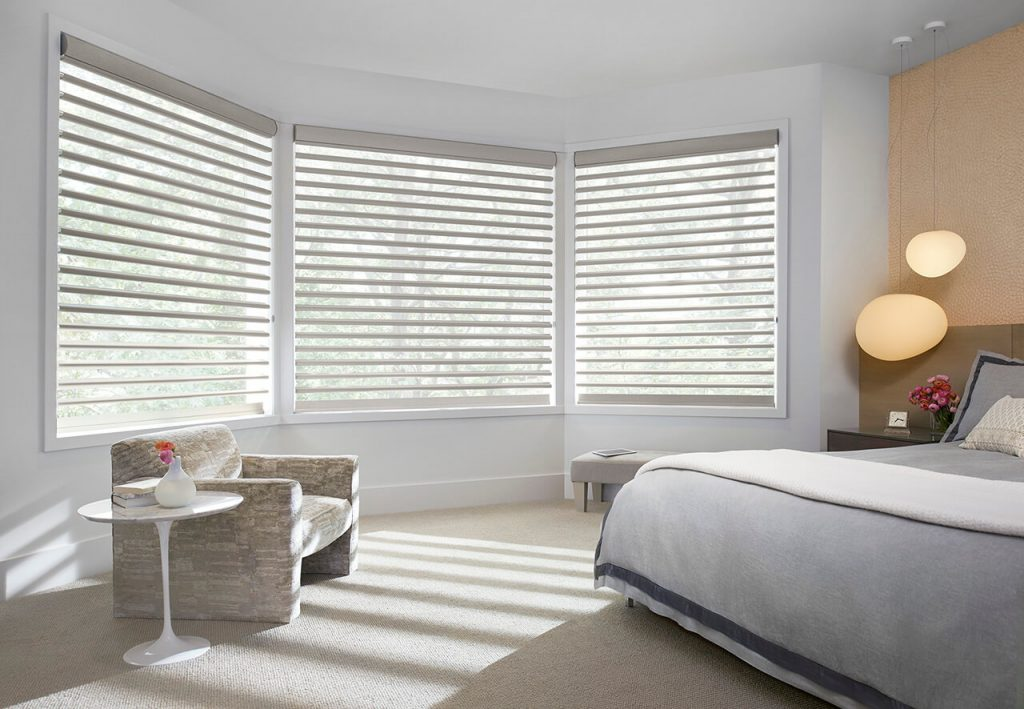 Luxaflex Pirouette Shades in bedroom