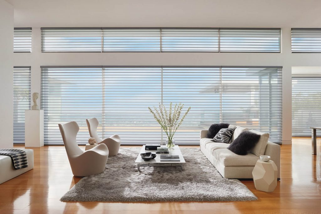 Floor to Ceiling Luxaflex Silhouette Blinds in large living space