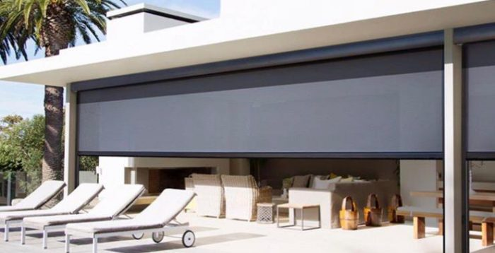 Straight Drop Shade Awnings alfresco space opening to Pool
