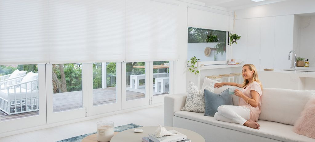 White Cellular Top Down Bottom Up Blinds in Lounge Room