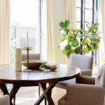 Full Drop Cream Curtains in Dining Area