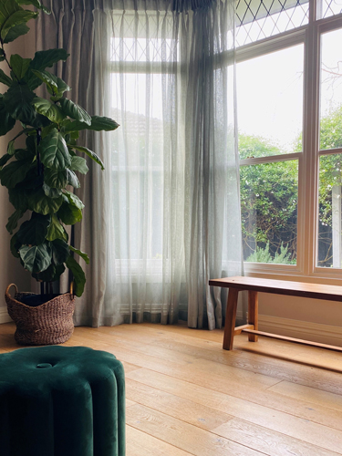 Sheer Curtains in Soft Green