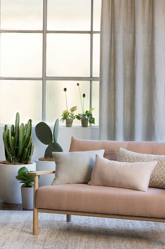 Light Room with White Draping Curtains