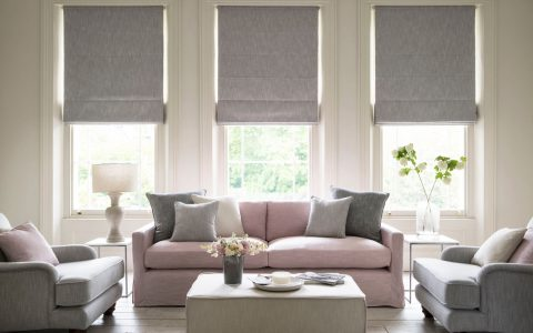 Three Grey Roman Blinds