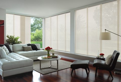 White Panel Glides over large windows