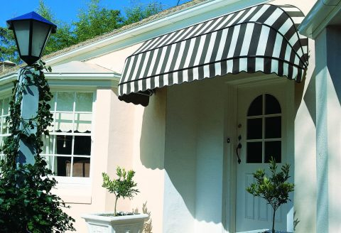 Black and White Canopy Awning over Door entrance