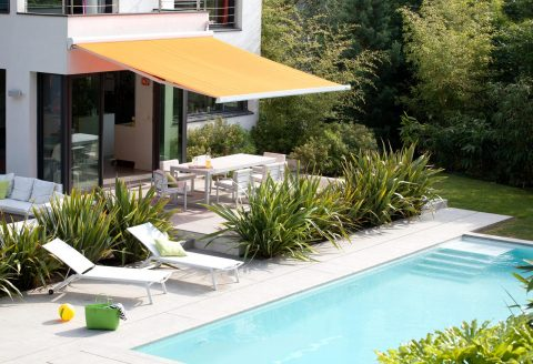 Orange Outdoor Retractable Awning