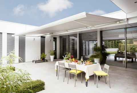 White Outdoor Retractable Awning over alfresco space