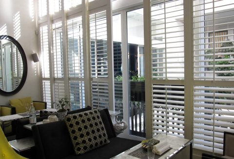 Sliding Door White Plantation Shutters
