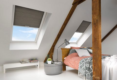 skylights window covered with Duette Blind